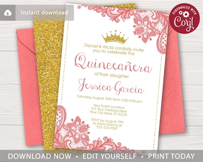 Picture of Quinceanera Birthday Invitation in Coral and Gold