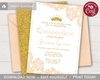 Picture of Quinceanera Birthday Invitation in Peach and Gold