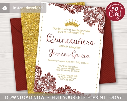 Picture of Quinceanera Birthday Invitation in Dark Red and Gold