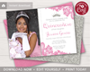 Picture of Quinceanera Birthday Invitation in Pink and Silver with Photo