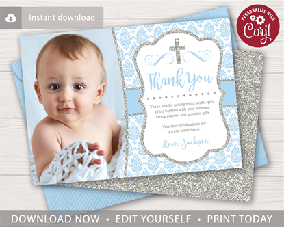 Picture of Baptism Thank You Card with Photo