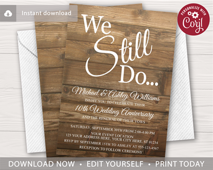 Picture of Rustic Wedding Vow Renewal Invitation