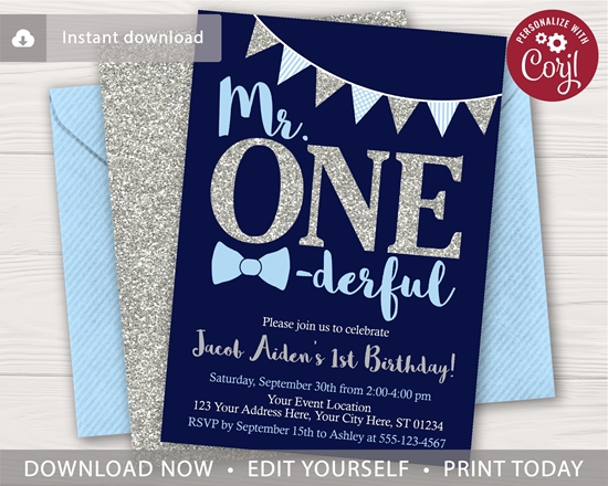 Picture of Mr. ONEderful Birthday Invitation | Navy and Silver
