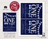 Picture of Mr. ONEderful Birthday Invitation   Navy and Silver