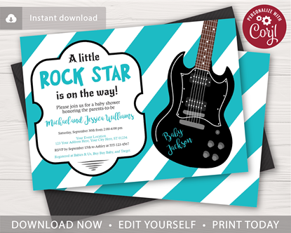 Picture of Rock Star Baby Shower Invitation
