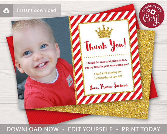 Picture of Prince Birthday Thank You Card in Red and Gold with Photo