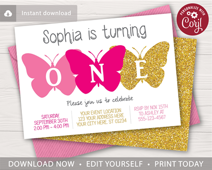 Picture of Butterfly First Birthday Invitation