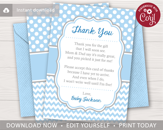 Picture of Baby Shower Thank You Card for Boys