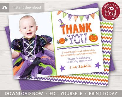 Picture of Halloween Birthday Thank You Card with Photo