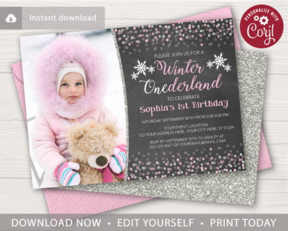 Picture of Winter ONEderland First Birthday Invitation