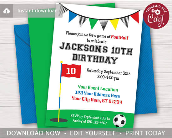Picture of FootGolf Birthday Invitation