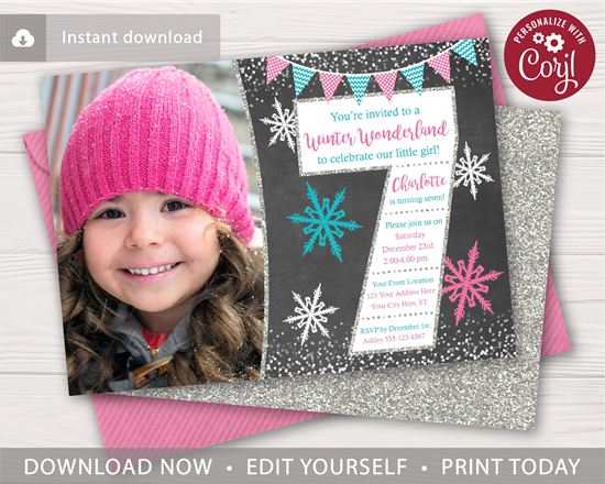 Picture of Winter 7th Birthday Invitation with Photo