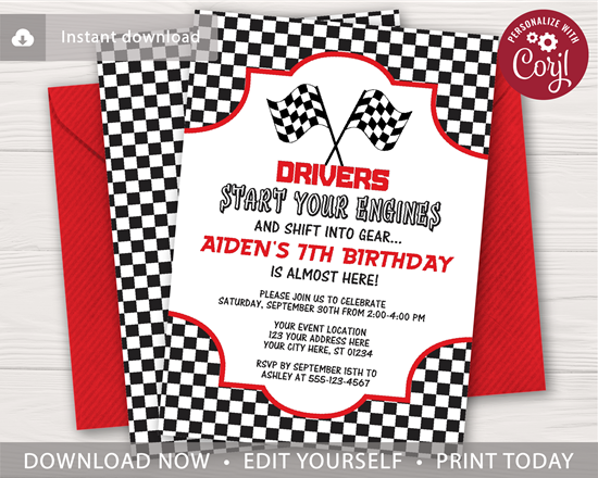 Picture of Racing Birthday Invitation
