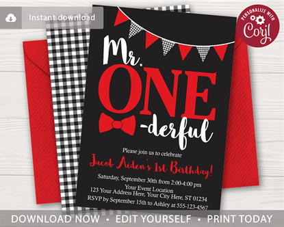 Picture of Mr. ONEderful Birthday Invitation | Black and Red