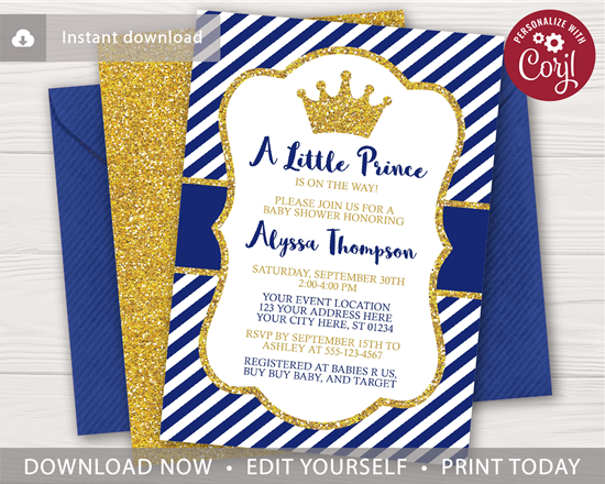 Prince Baby Shower Invitation Puggy