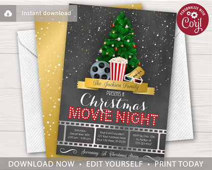 Picture of Christmas Movie Night Invitation