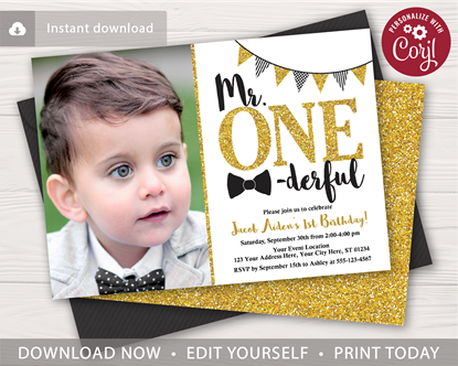 Picture of Mr. ONEderful Birthday Invitation with Photo | Black and Gold