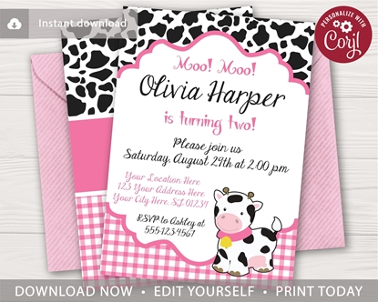 Picture of Cow Birthday Invitation in Pink