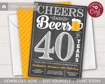 Picture of Cheers and Beers to 40 Years Birthday Invitation