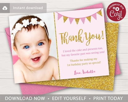 Picture of Pink and Gold Birthday Thank You Card with Photo