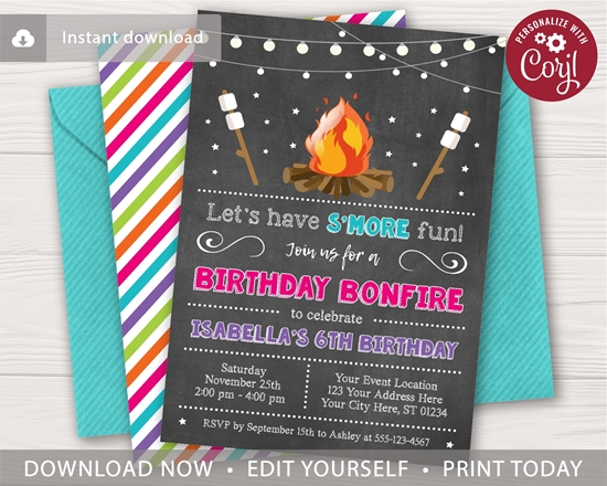 Picture of Bonfire Birthday Invitation