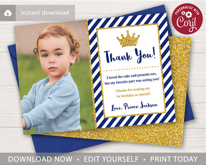 Picture of Prince Birthday Thank You Card with Photo