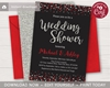 Picture of Confetti Wedding Shower Invitation in Red, Black, and Silver