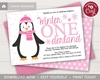 Picture of Penguin Birthday Invitation in Pink for a Winter ONEderland Party