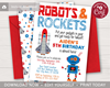 Picture of Robots and Rockets Birthday Invitation