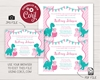 Picture of Dinosaur Baby Shower Invitation in Pink and Pool Blue