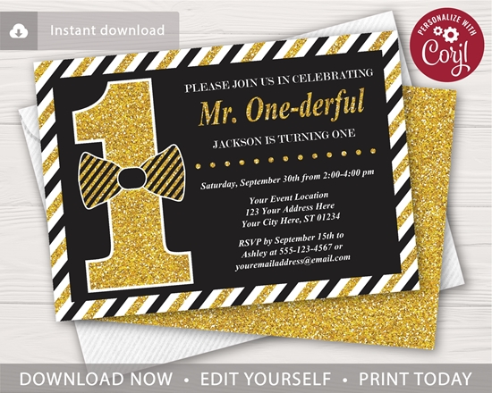 Picture of Mr. ONEderful Birthday Invitation | Black and Gold