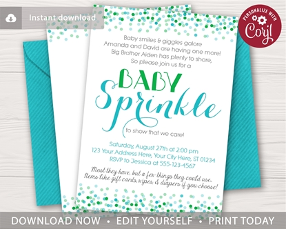 Picture of Confetti Baby Sprinkle Invitation in Green and Aqua