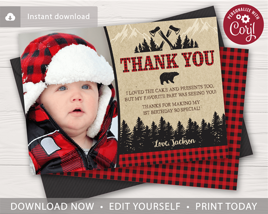 Picture of Lumberjack Birthday Thank You Card with Photo