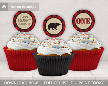 Picture of Lumberjack 1st Birthday Cupcake Toppers