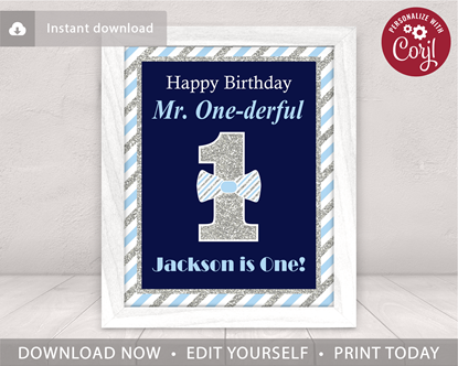 Picture of Mr. ONEderful Birthday Party Sign | Navy and Silver