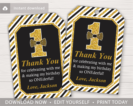 Picture of Mr. ONEderful Birthday Favor Tags | Black and Gold