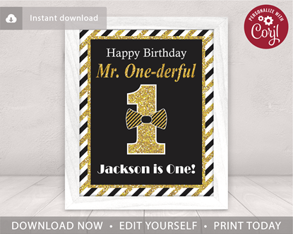 Picture of Mr. ONEderful Birthday Party Sign | Black and Gold