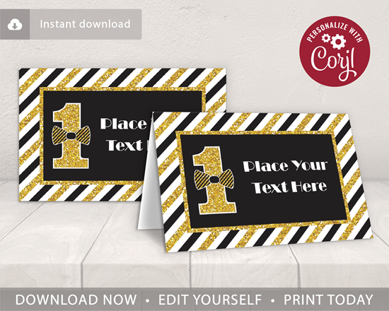 Picture of Mr. ONEderful Birthday Place Cards | Black and Gold