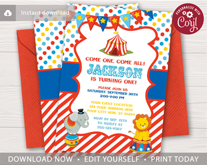 Picture of Circus Birthday Invitation