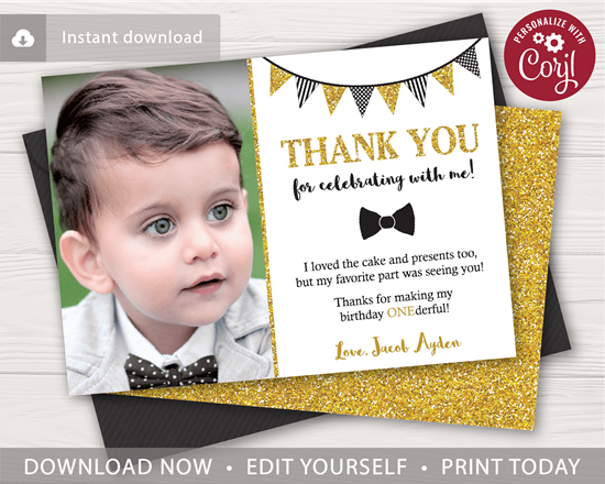 Picture of Mr. ONEderful Birthday Thank You Card | Black and Gold