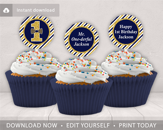 Picture Of Mr ONEderful Birthday Cupcake Toppers