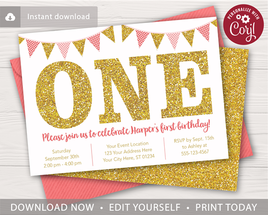 Picture of Pink and Gold 1st Birthday Invitation