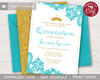 Picture of Quinceanera Birthday Invitation with Aqua Lace and Gold Glitter