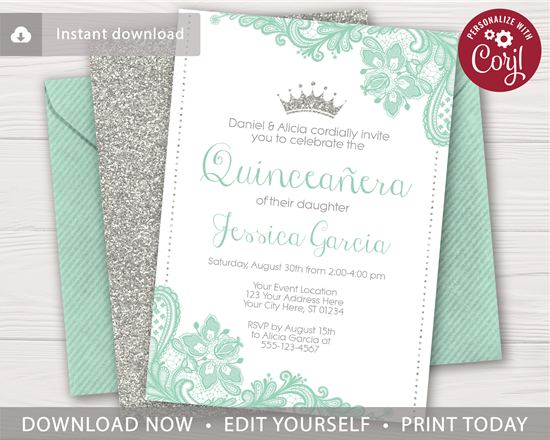 Quinceanera Birthday Invitation With Mint Green Lace And Silver Glitter