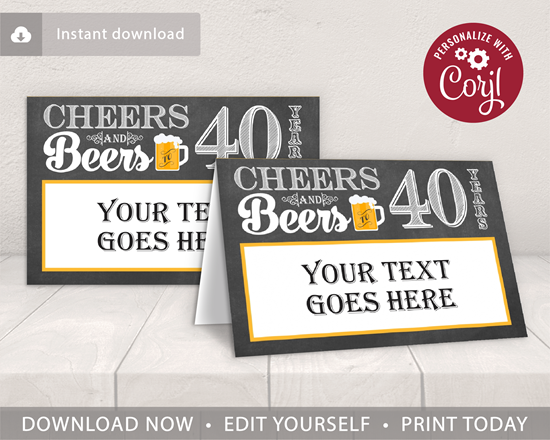 Picture of Cheers and Beers to 40 Years Birthday Place Cards