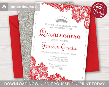 Picture of Quinceanera Birthday Invitation with Red Lace and Silver Glitter