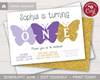 Picture of Butterfly First Birthday Invitation in Purple and Gold