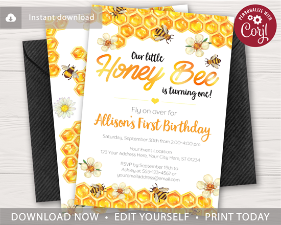 Picture of Bumble Bee Birthday Invitation