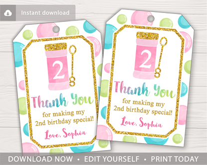 Picture of Bubble Birthday Favor Tags