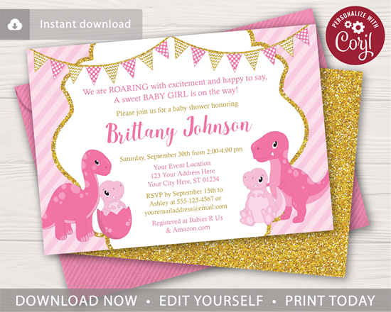 83da484f8 Picture of Dinosaur Baby Shower Invitation in Pink and Gold